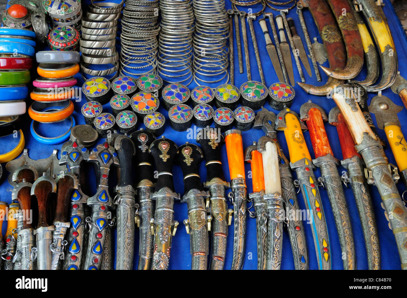 Knives and Jewellery, Marrakech, Morocco - Stock Image