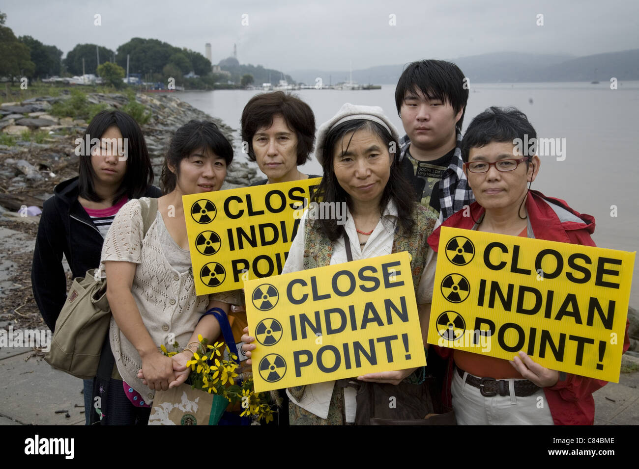Japanese farmers and activists at Indian Point who want to save New Yorkers from a similar disaster as at Fukushima, - Stock Image