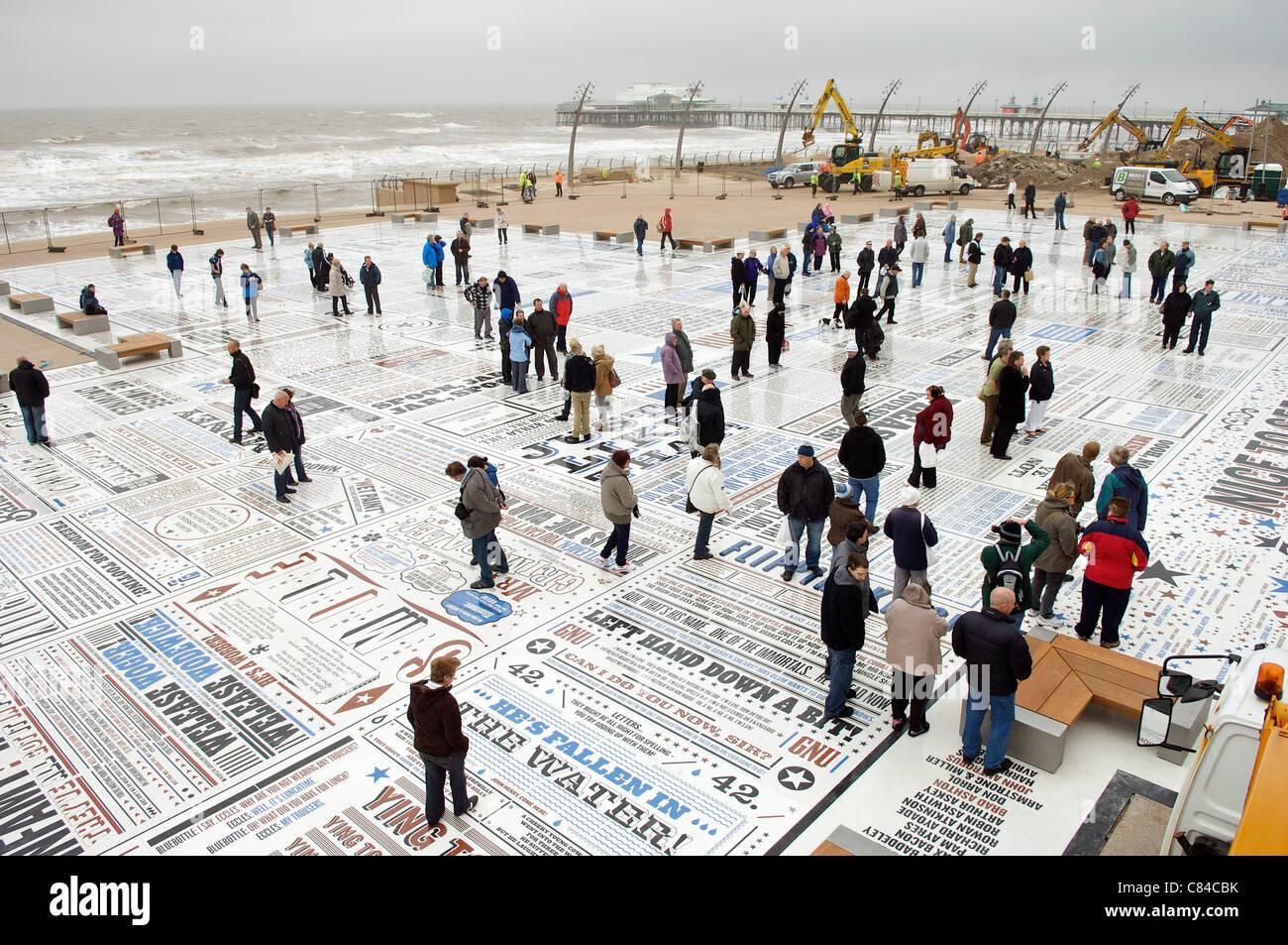 BLACKPOOL, UK, MON 10TH OCT, 2011. The Blackpool Comedy Carpet opens on the beachside resort's promenade. The - Stock Image