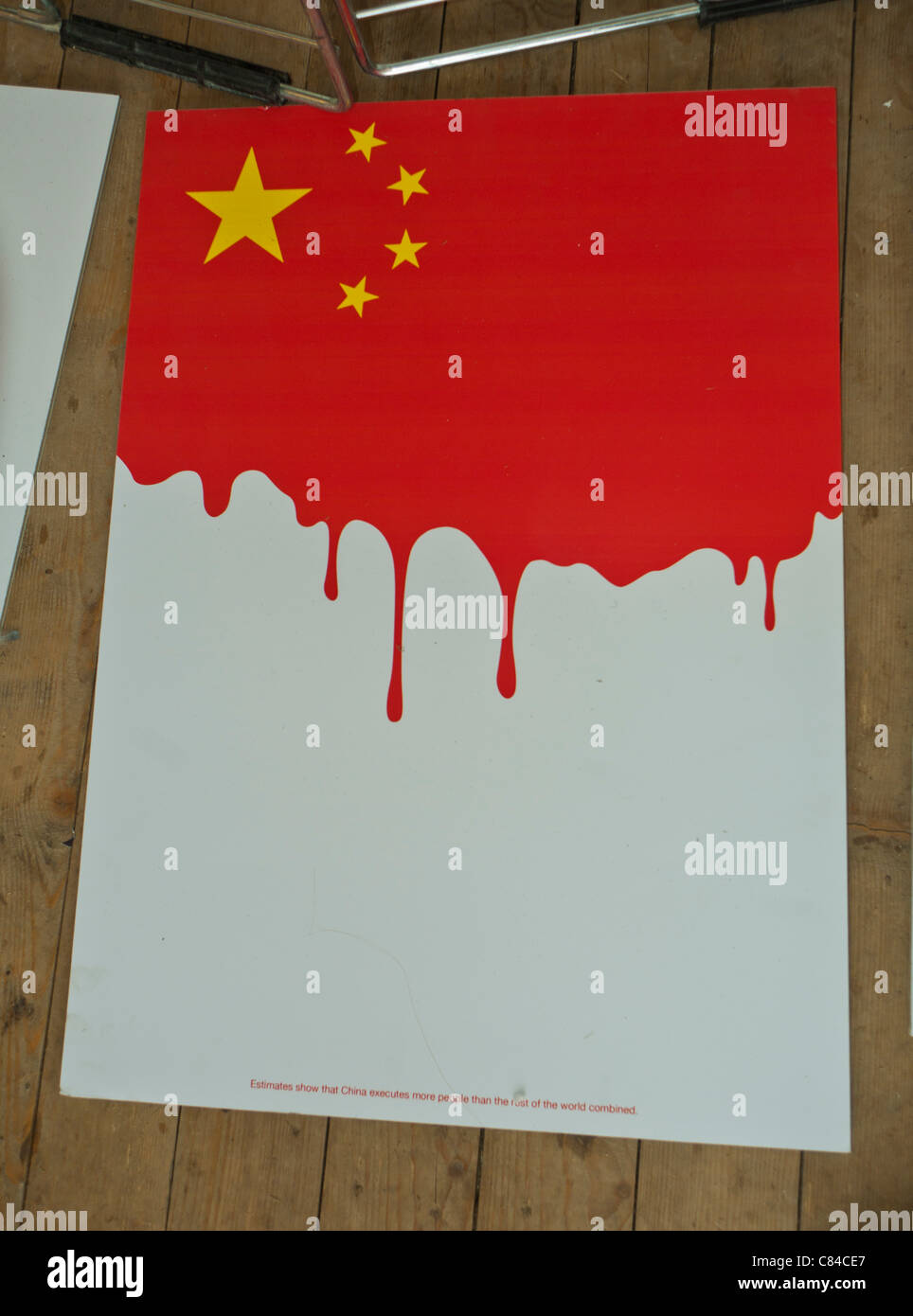 Paris,  France, Chinese Flag Protest Poster, outside against the death penalty. - Stock Image