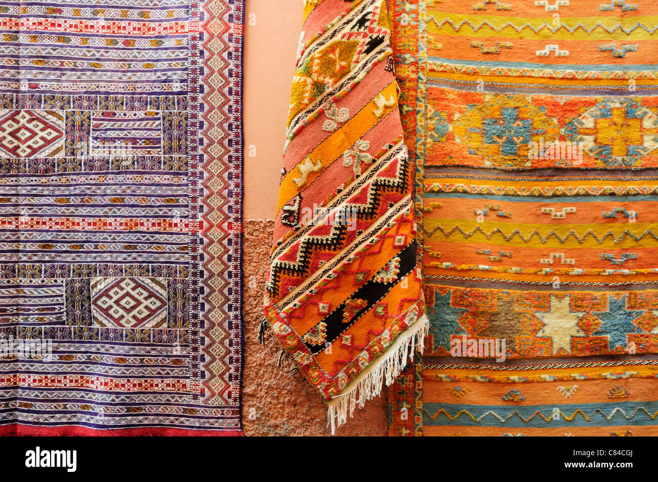 Carpets for Sale in The Medina, Marrakech, Morocco - Stock Image