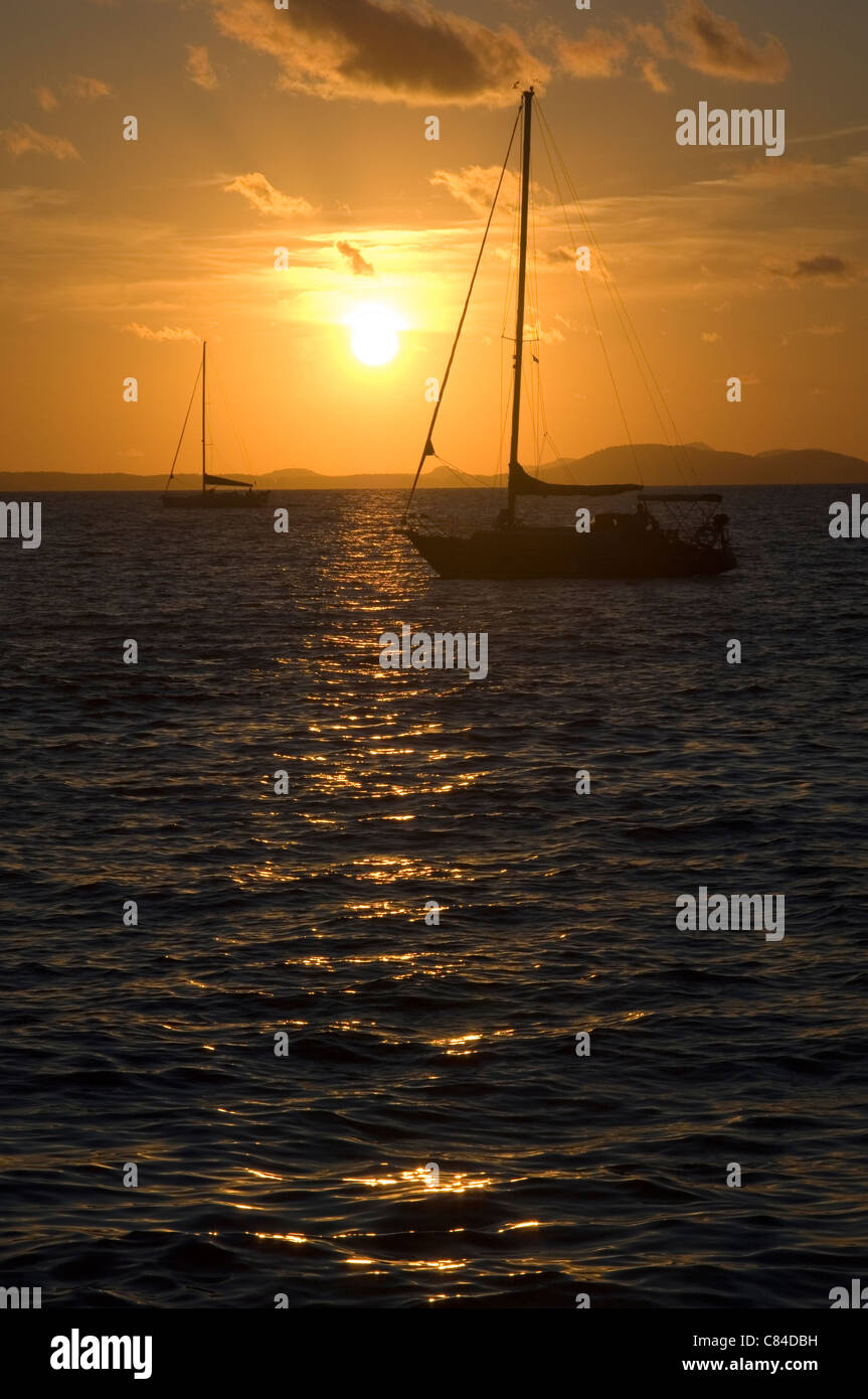 Mallorca, Bay of Palma, yachts at sunset Stock Photo