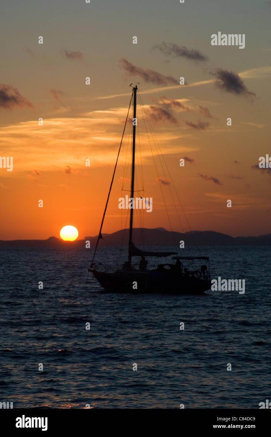 Mallorca, Bay of Palma, yacht at sunset Stock Photo
