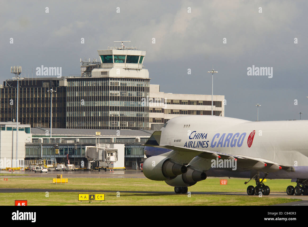 China Airlines cargo jumbo Boeing 747 at Manchester airport. - Stock Image