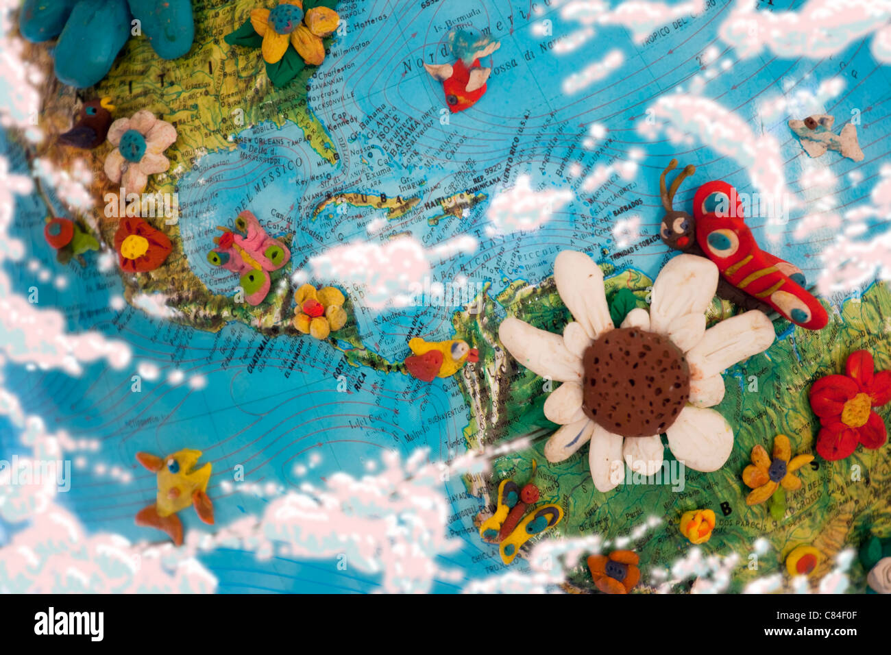 Picture of: Part Of The World Map With America And Caribbean Sea Plasticine Stock Photo Alamy