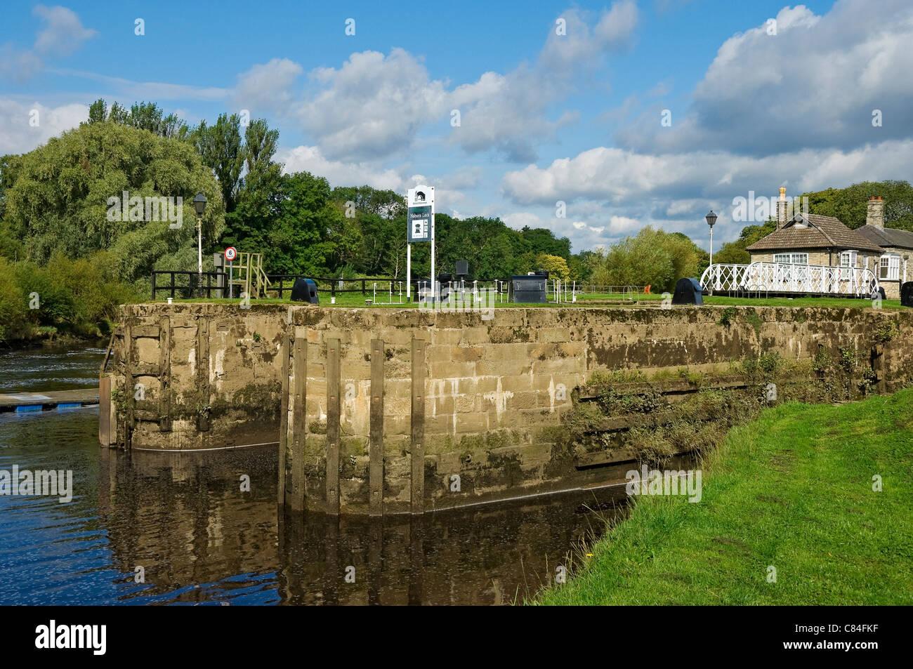 Naburn Lock on River Ouse near York North Yorkshire England UK United Kingdom GB Great Britain - Stock Image