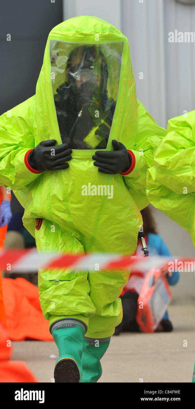 UK, Major disaster exercise at the olympic sailing venue, Portland in Dorset, - Stock Image