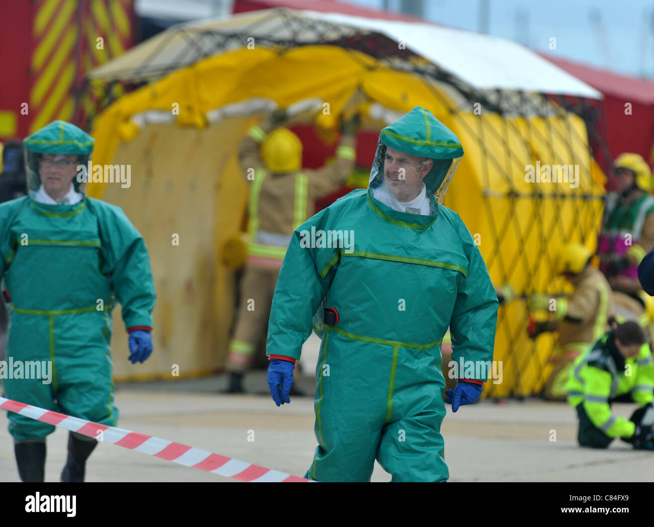 UK, Major disaster exercise at the olympic sailing venue, Portland in Dorset, Over 150 police, fire, ambulance and - Stock Image