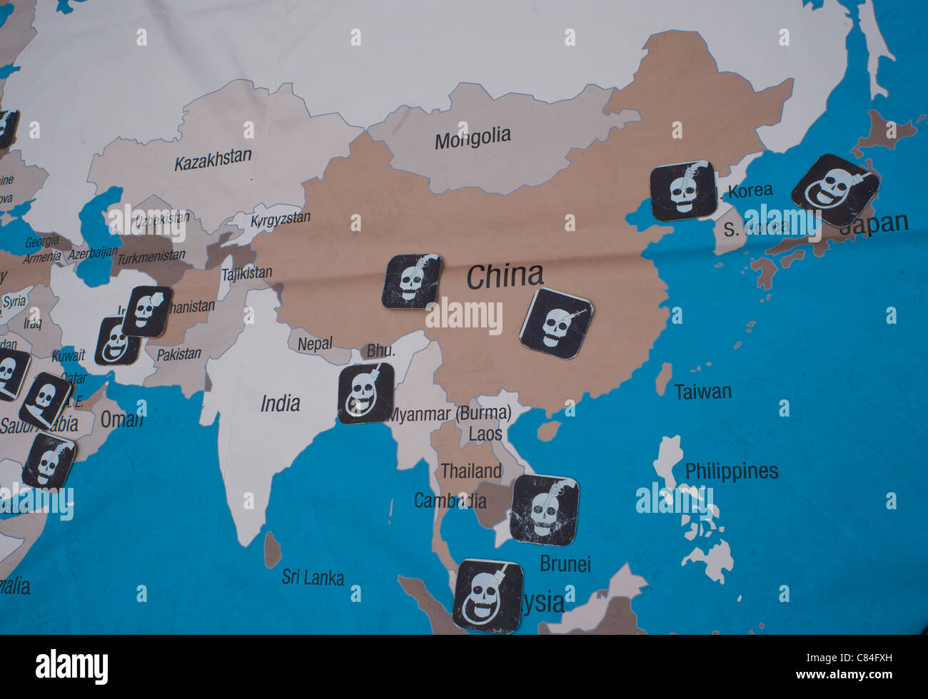 9th World Day against the Death Penalty: The Rally for abolition, World Map Showing Capital Punishment - Stock Image