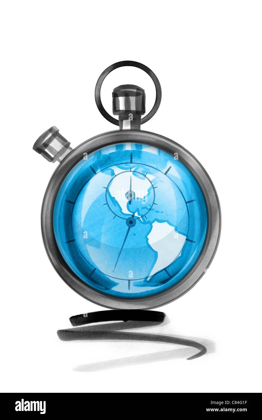 Globe in stopwatch - Stock Image