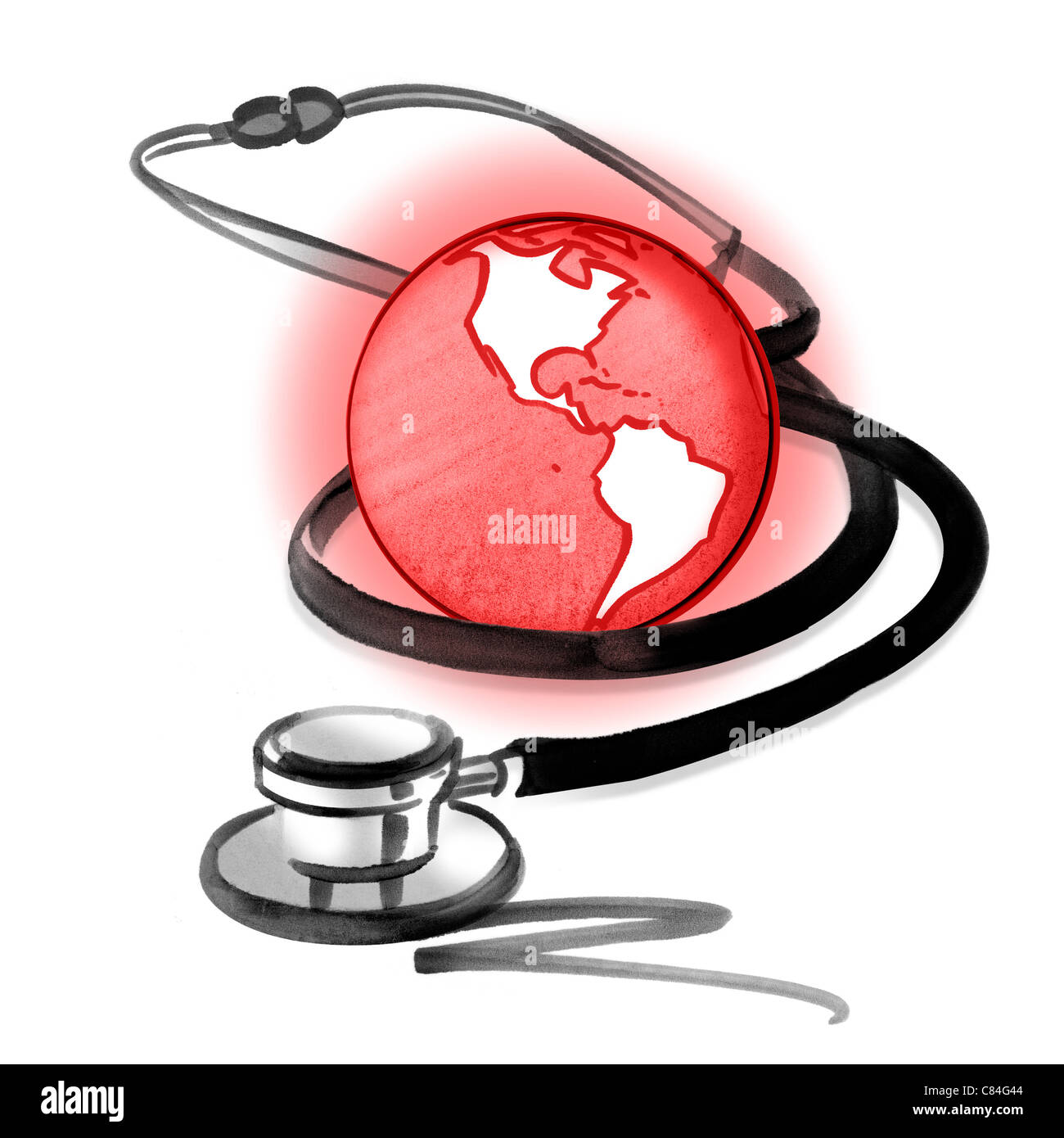 Red planet earth and stethoscope - Stock Image