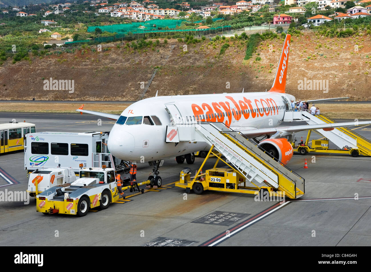 EasyJet plane parked at Funchal airport Madeira Portugal EU Europe - Stock Image