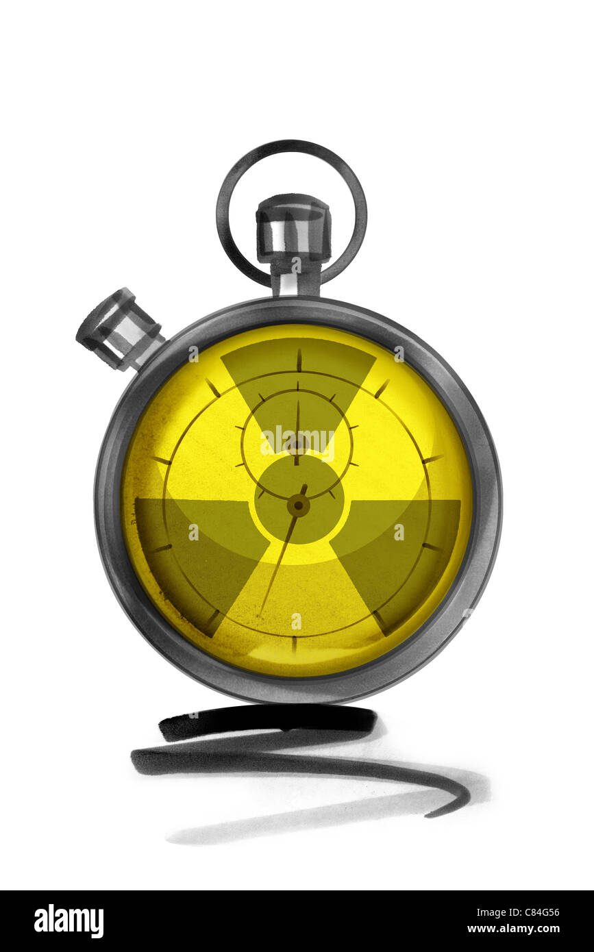 Stopwatch with radiation warning symbol Stock Photo
