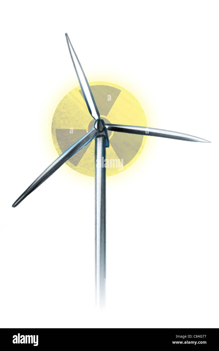Wind Turbine Radiation Warning Symbol Fading In Background Stock