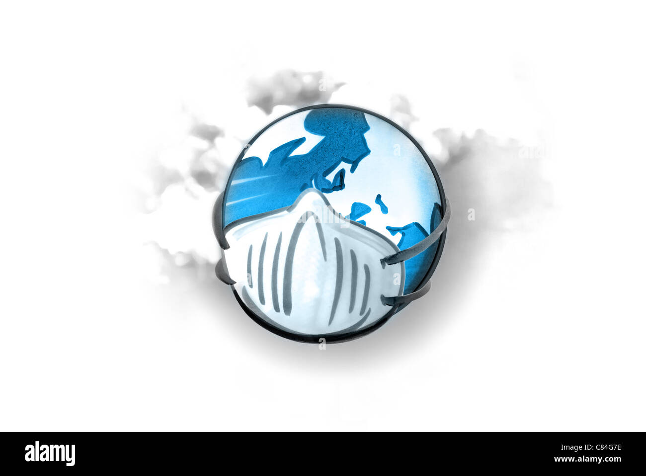 Earth with mask, smoke in background Stock Photo