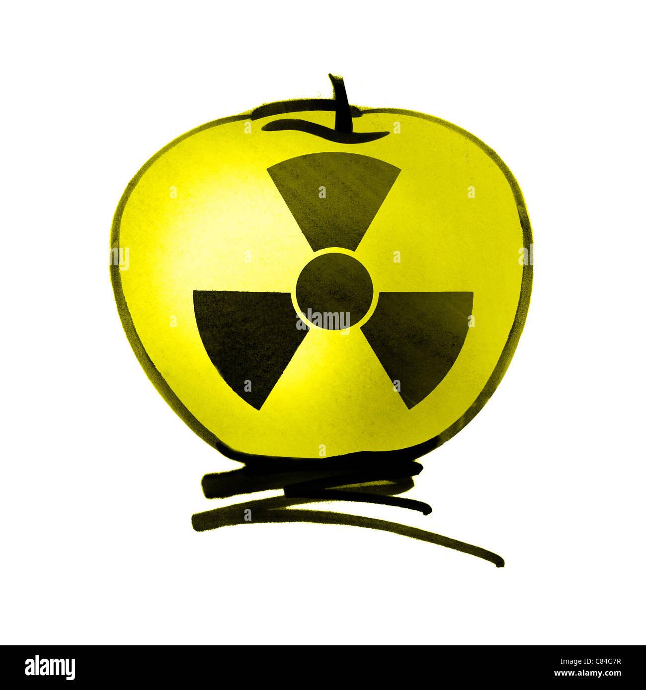 Radioactive apple - Stock Image