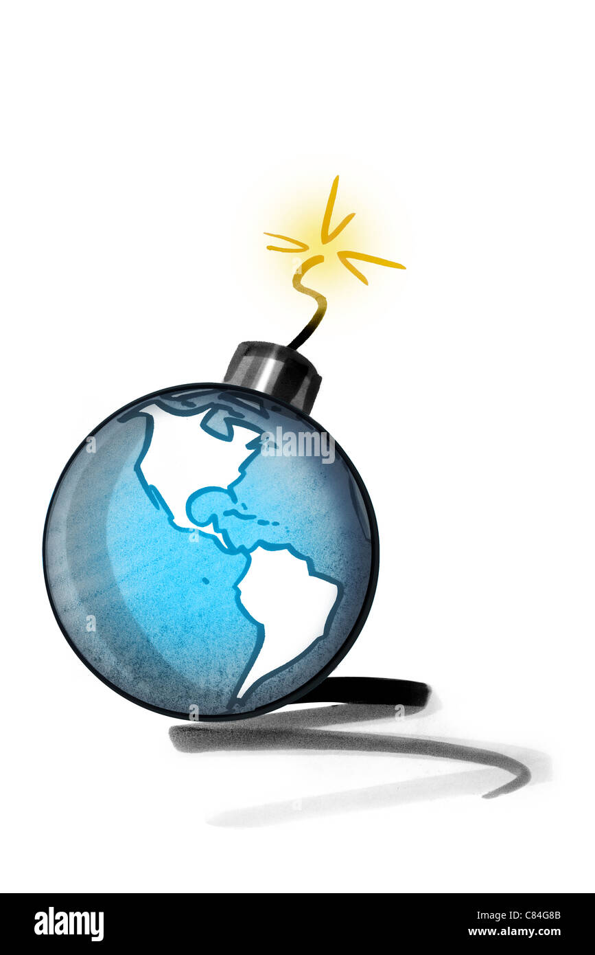 Earth as bomb with ignited fuse - Stock Image