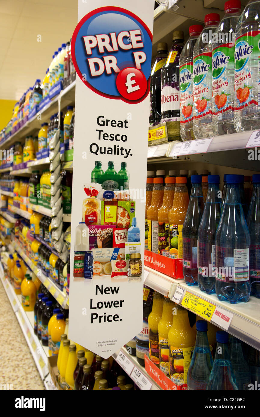 A Tesco price drop offer in a uk store - Stock Image
