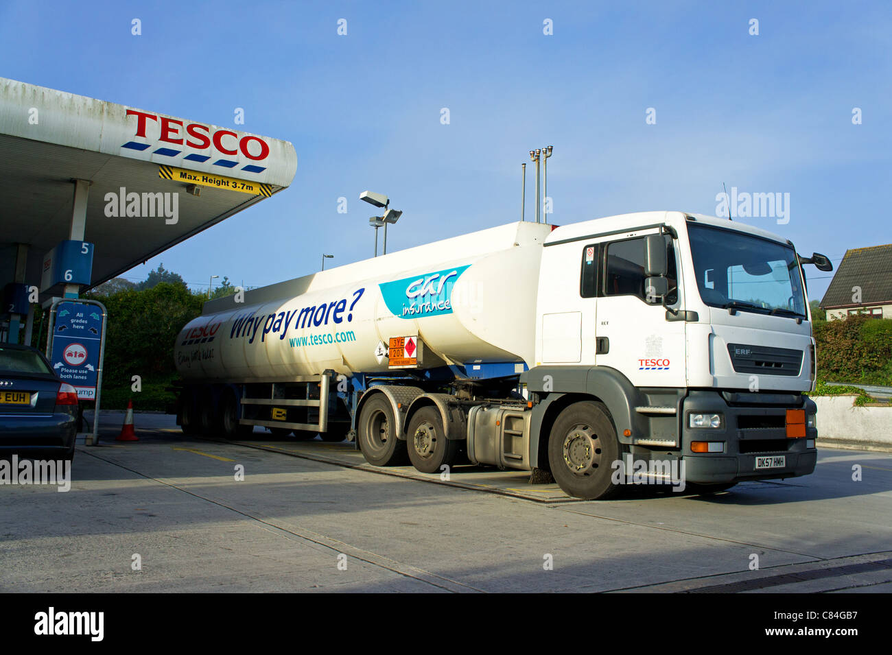 A petrol tanker on the forecourt of a Tesco filling station, uk - Stock Image