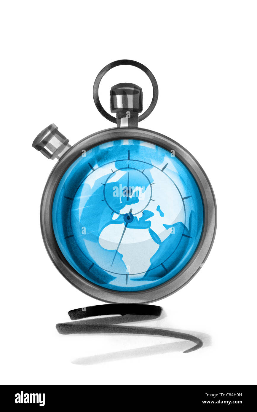 Globe in stopwatch Stock Photo