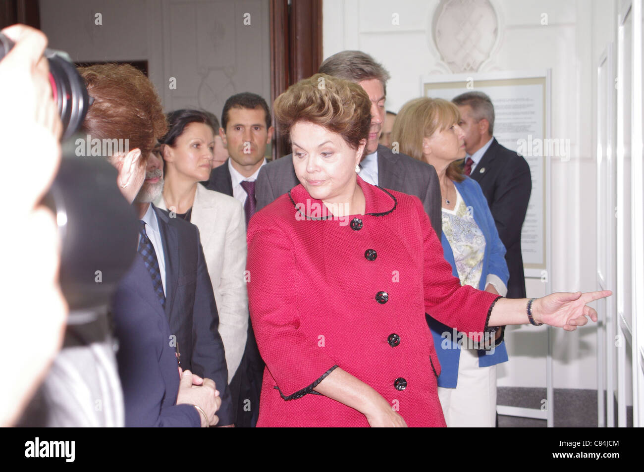 Dilma Rousseff seen the exhibition, Bulgarian roots Dilma Rousseff, in museum Gabrovo - Bulgaria - Stock Image