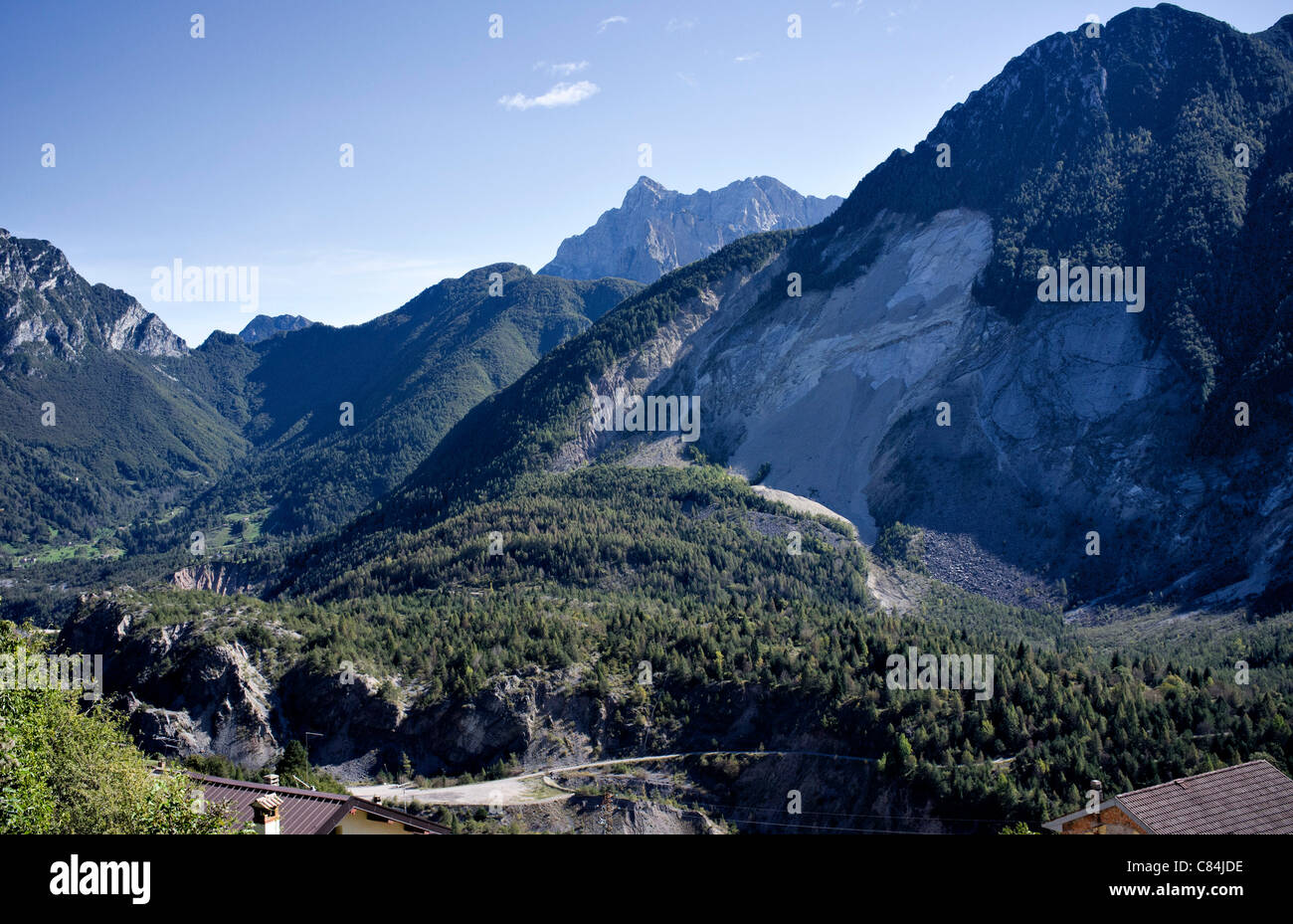 A genaral view of the Vajont dam, and Monte Toc VenetoItaly - Stock Image