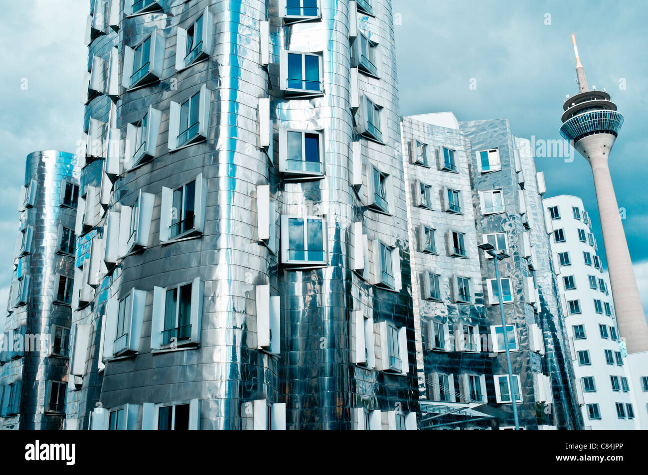 The Neuer Zollhof building at the Medienhafen, Düsseldorf, Germany Architect Frank Gehry - Stock Image