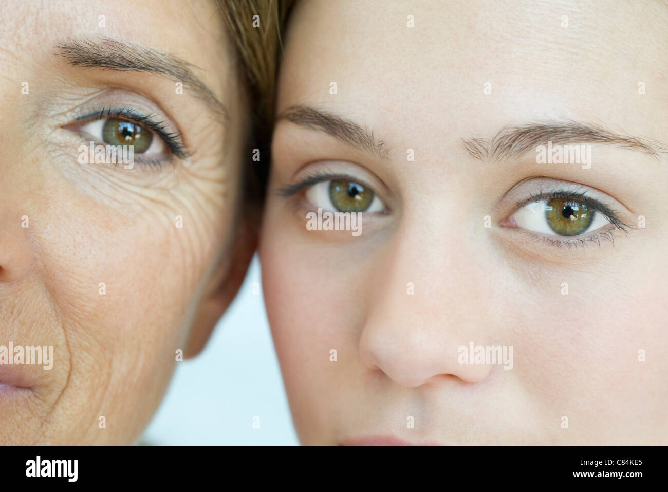Mother and daughter, close-up portrait - Stock Image