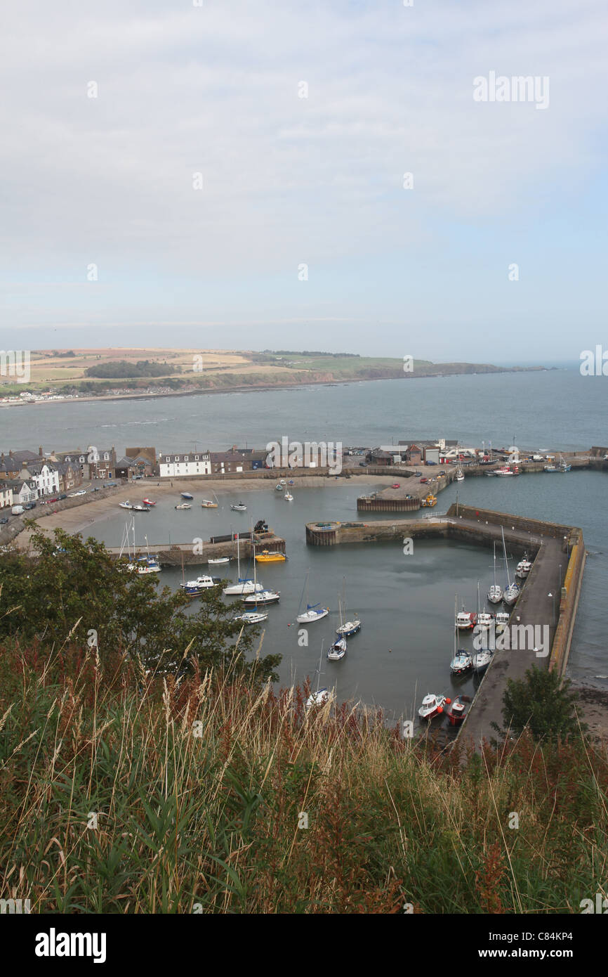 Elevated view of Stonehaven harbour Scotland  October 2011 - Stock Image