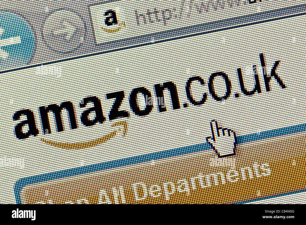 Amazon UK logo and website close up - Stock Image