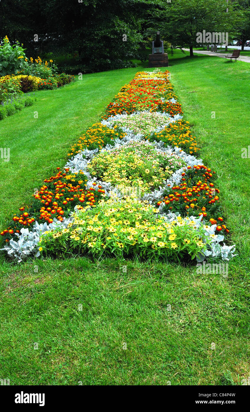 Long Linear Flower Bed With Diamond Shapes Within Stock Photo