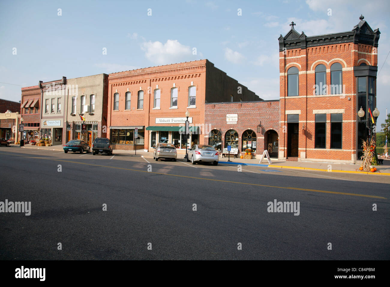 Downtown historic business district in Wabasha Minnesota USA - Stock Image
