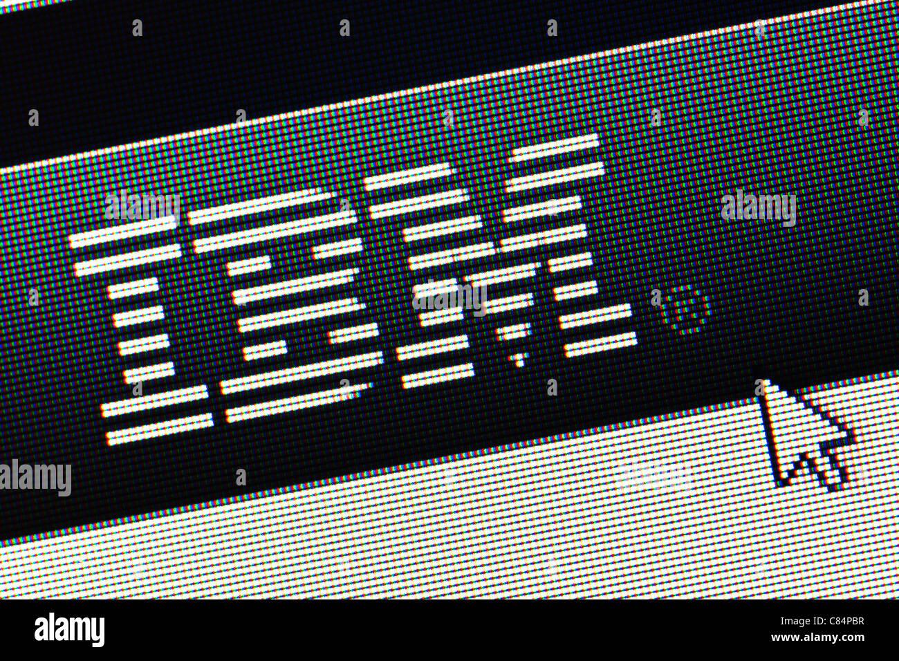 IBM logo and website close up