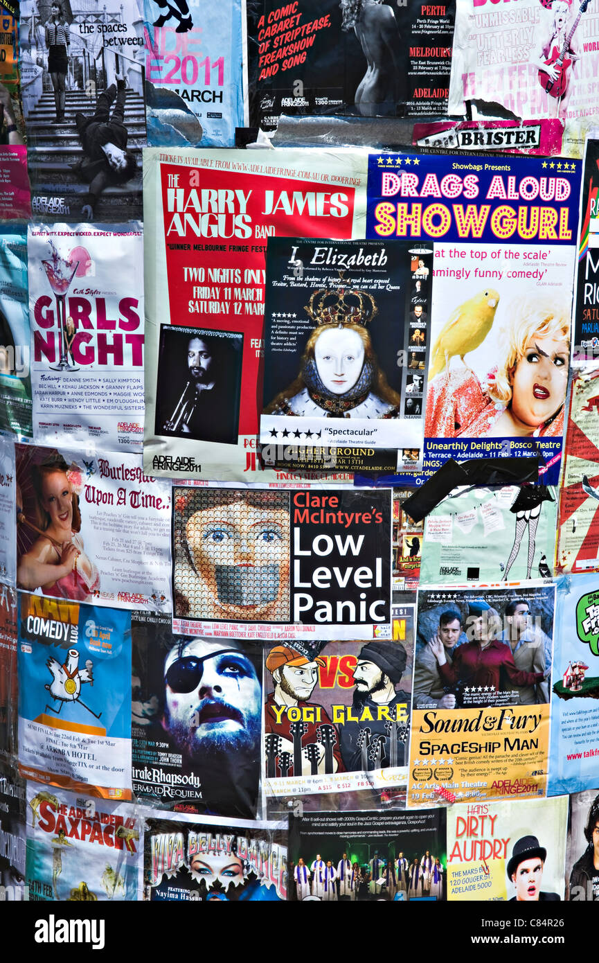 An Advertising Hoarding in Adelaide Providing Detail of Plays and Performances in The Adelaide Fringe South Australia - Stock Image