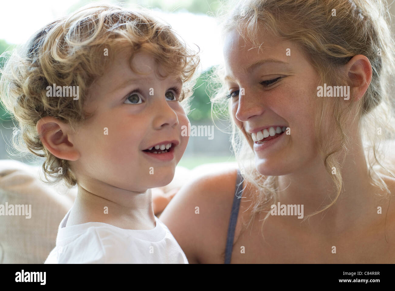 Mother and young son spending time together - Stock Image