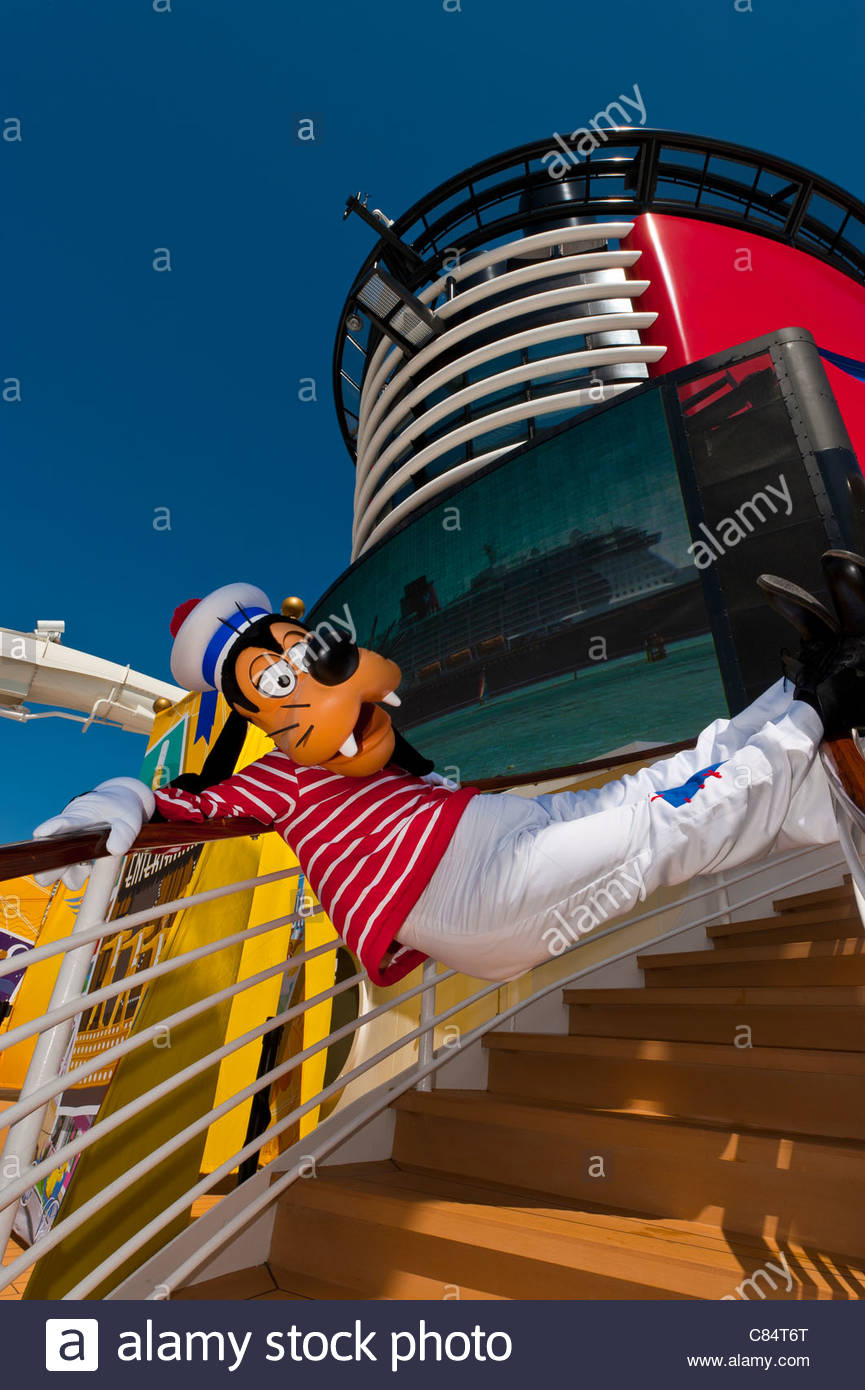 Goofy aboard the Disney Dream cruise ship sailing between Florida and the Bahamas. - Stock Image