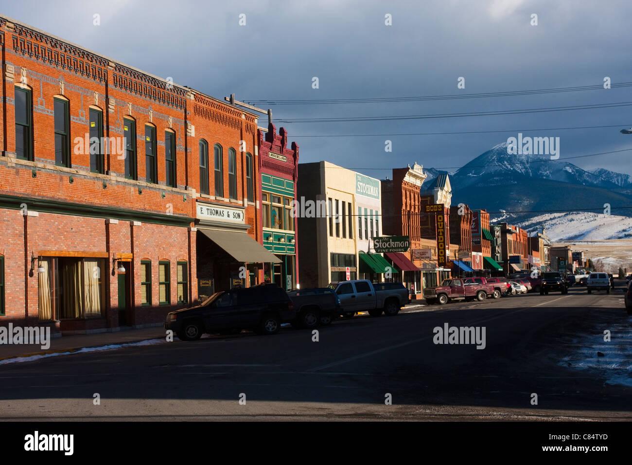 Main Street Historic Livingston Montana USA - Stock Image