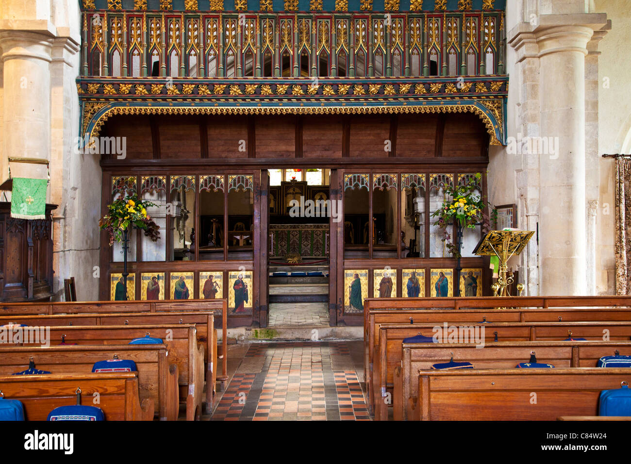 The magnificent rood loft and screen in St. James' Church in Avebury in Wiltshire, England, UK - Stock Image