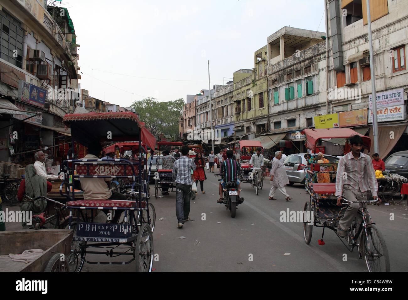 busy street in Delhi - Stock Image