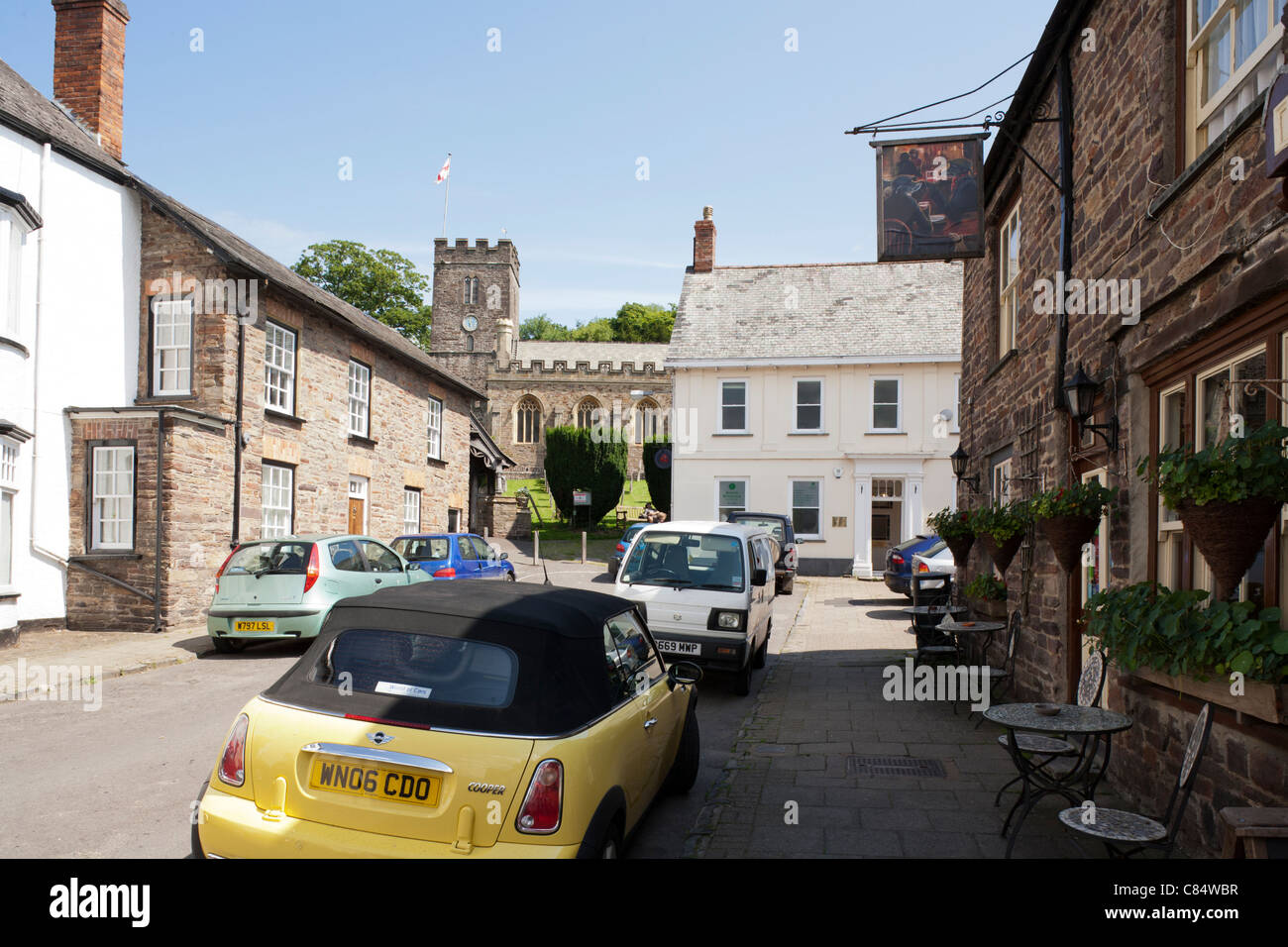 All Saints church and the town of Dulverton, Somerset - Stock Image