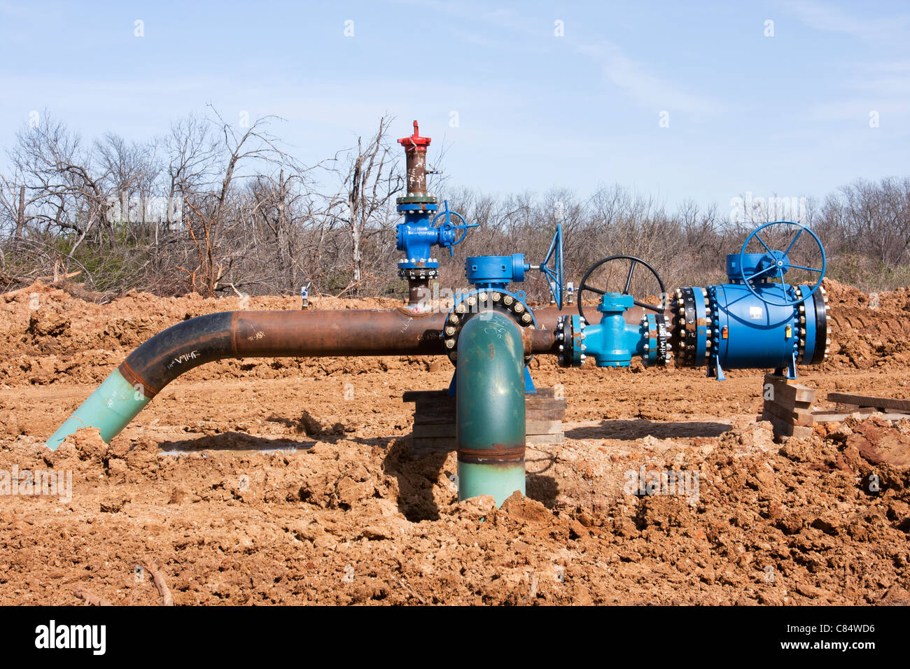 Gas valves are required at various areas to stop the flow of natural gas in pipelines in the North Texas. Stock Photo