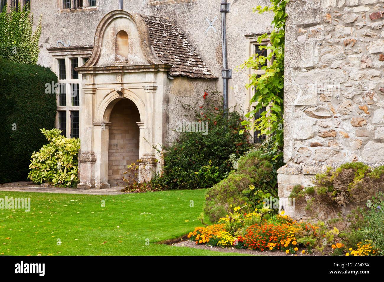 Corner of the garden of Avebury Manor in Wiltshire, England, UK - Stock Image