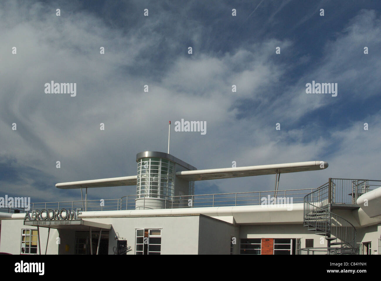 Art deco roofline at the Aviator Hotel, Sywell Aerodrome, UK - Stock Image