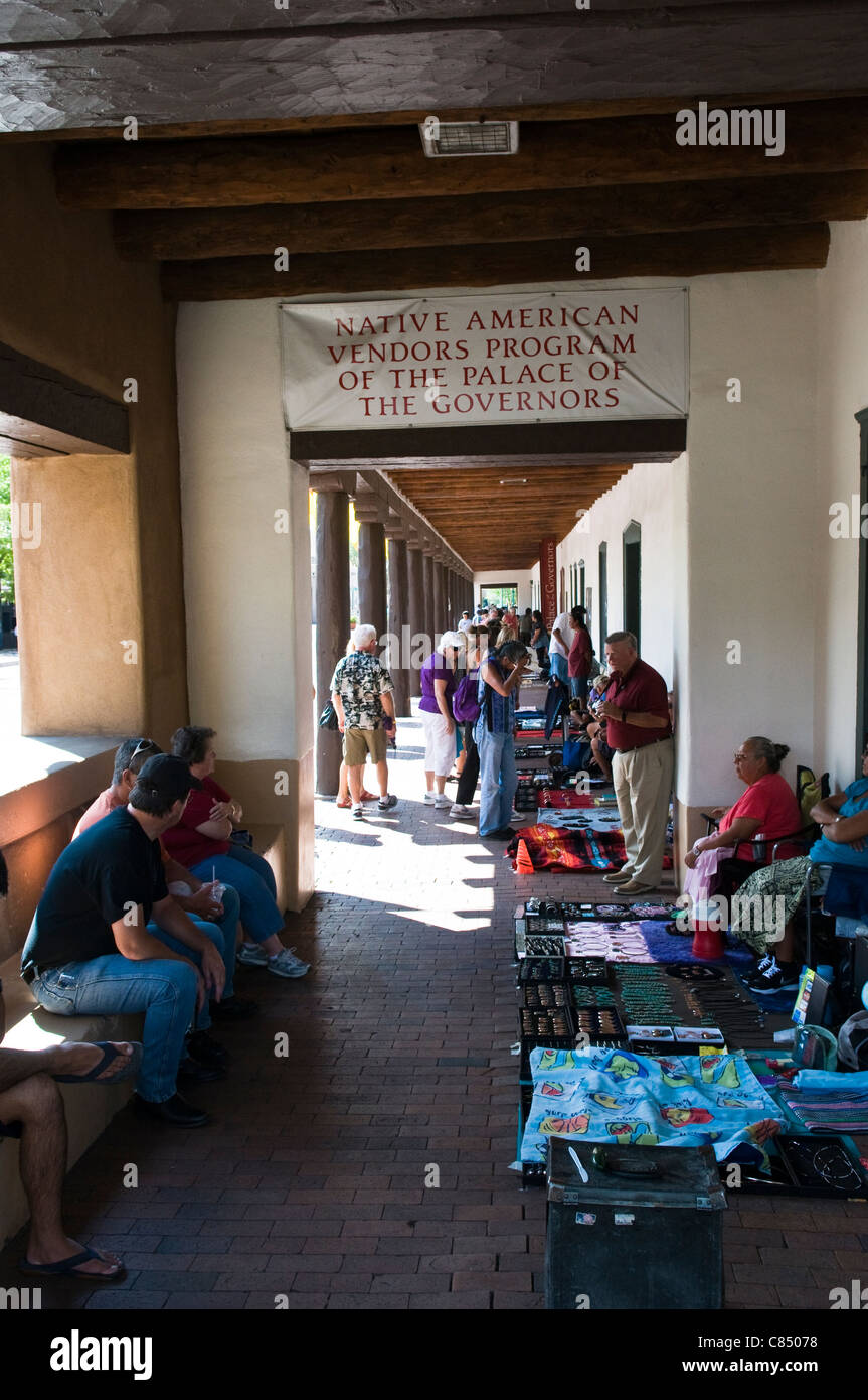 Indian market selling jewelry at the Palace of the Governors in Santa Fe New Mexico USA - Stock Image