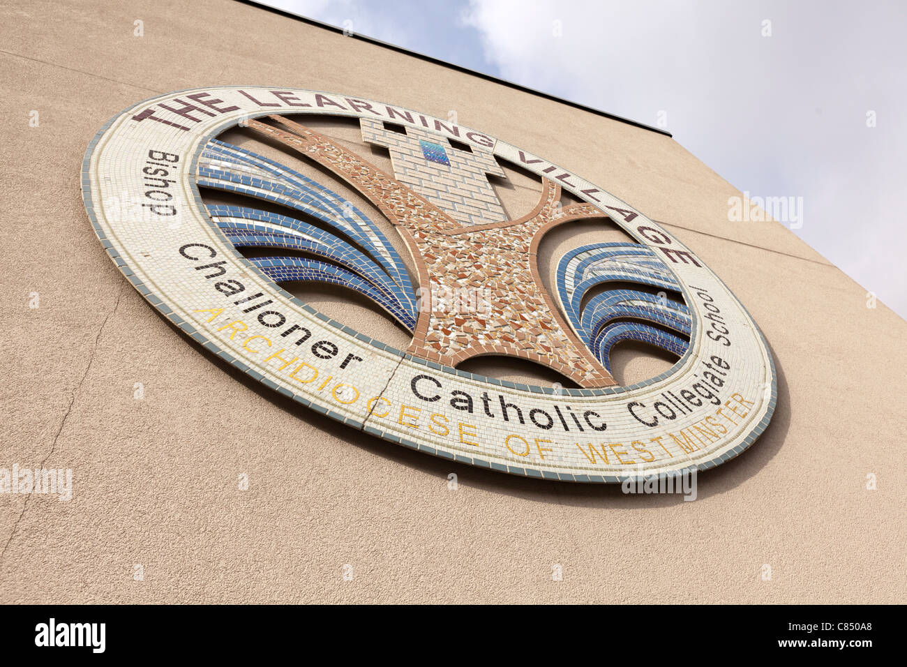 Logo of the The Learning Village - Bishop Challoner Catholic Collegiate school, Commercial Road, London, UK. - Stock Image