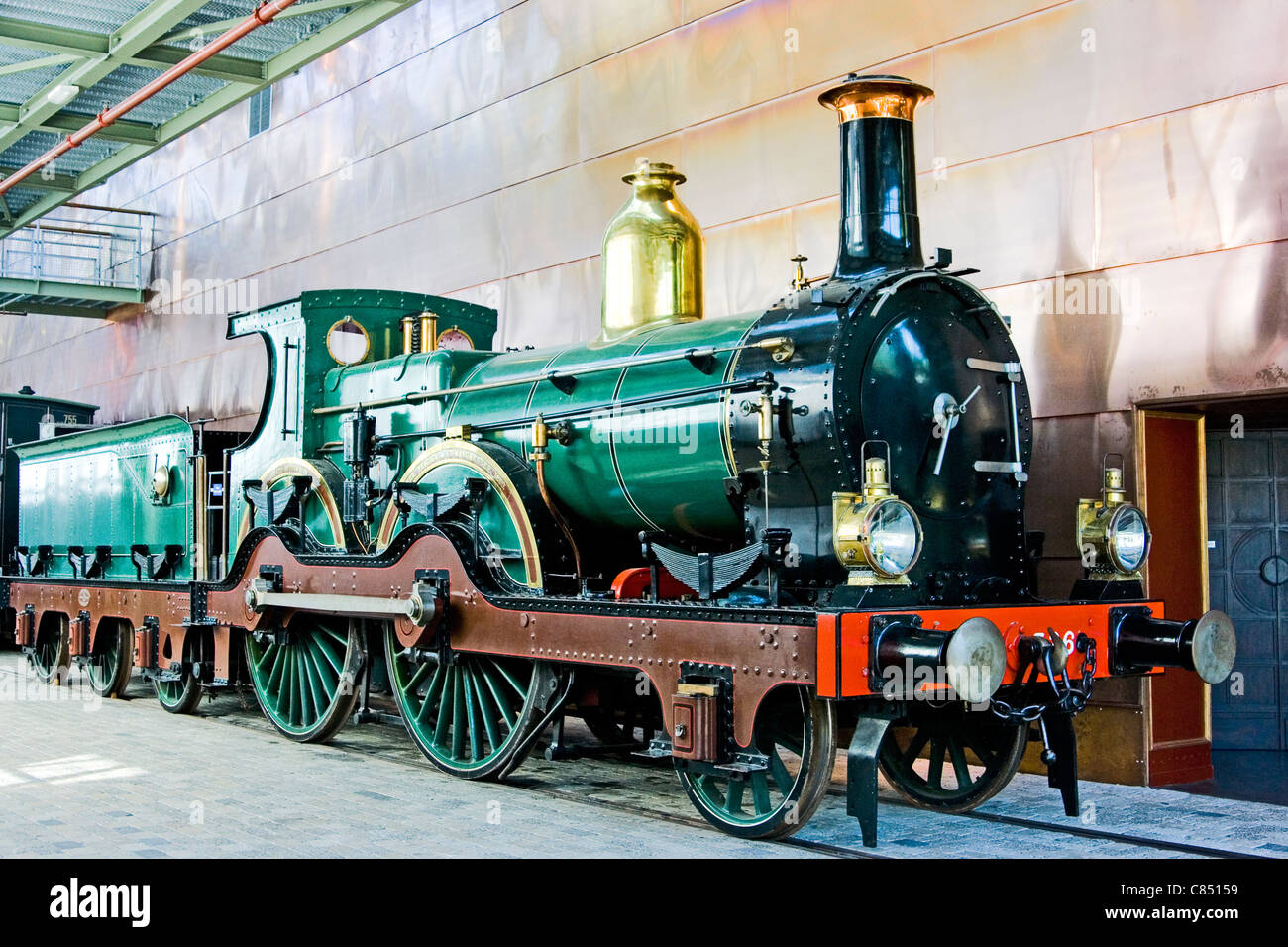 Old English steam locomotive (built by Beyer Peacock, Manchester 1891) the Railway Museum, Utrecht, Holland - Stock Image