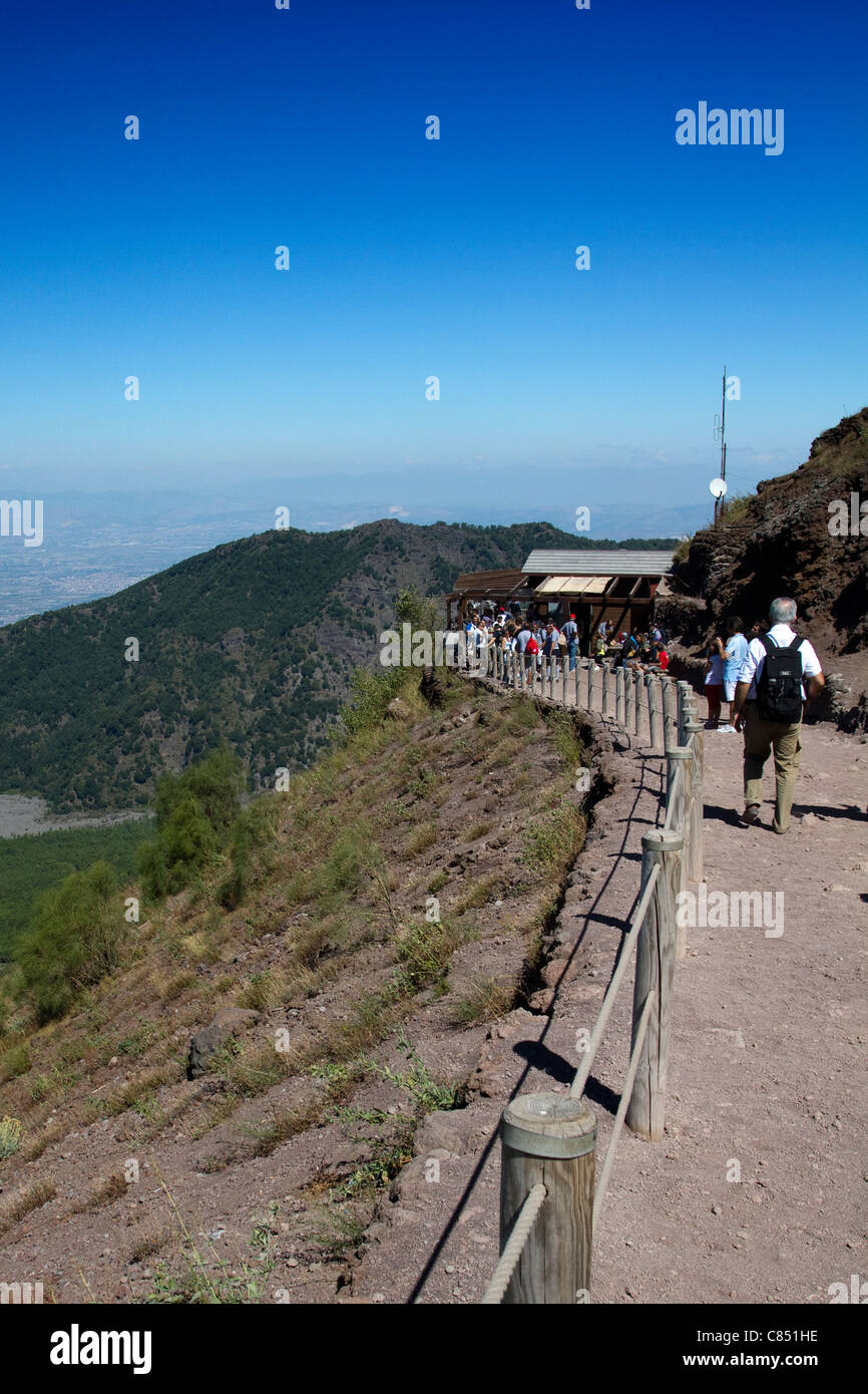 The path that ascends Mt Vesuvius in the Bay of Naples Stock Photo