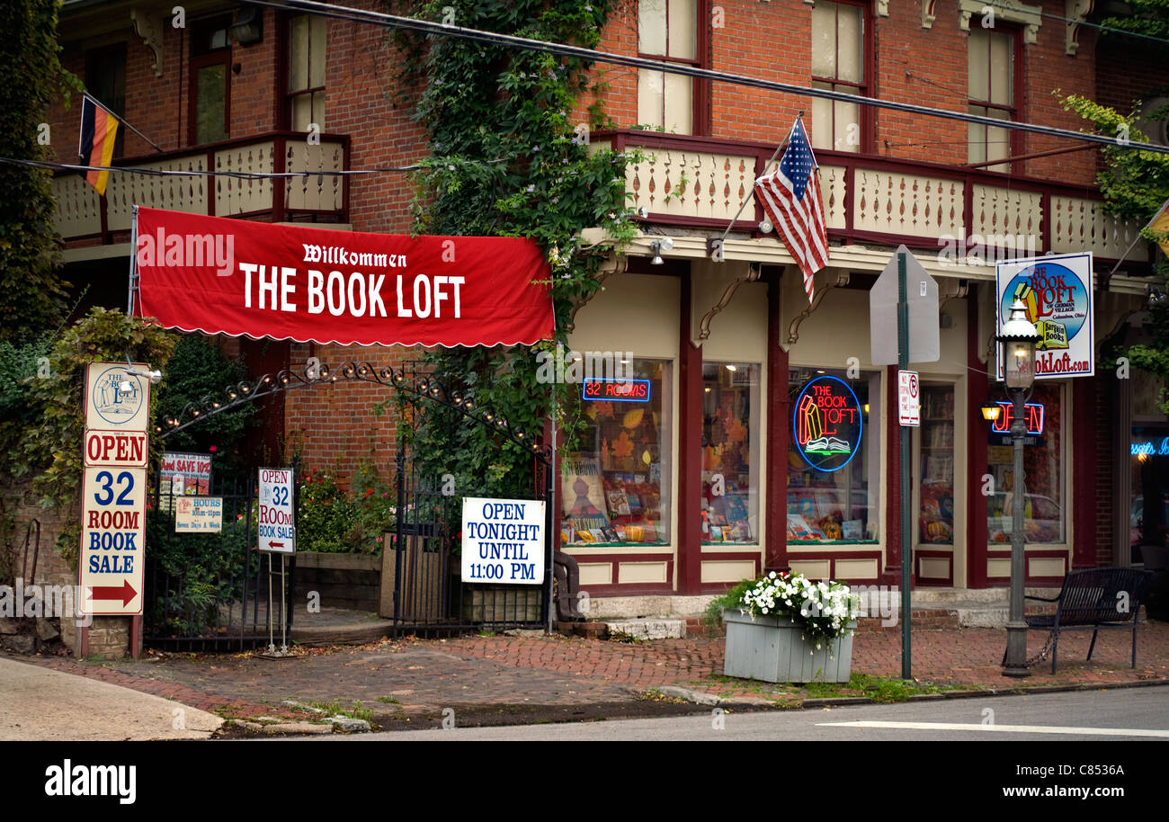 The Book Loft, a famous city-block long bookstore, in the German Village section of Columbus Ohio. - Stock Image
