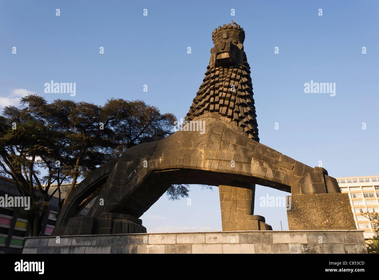 Elk200-1028 Ethiopia, Addis Ababa, Lion of Judah Monument - Stock Image