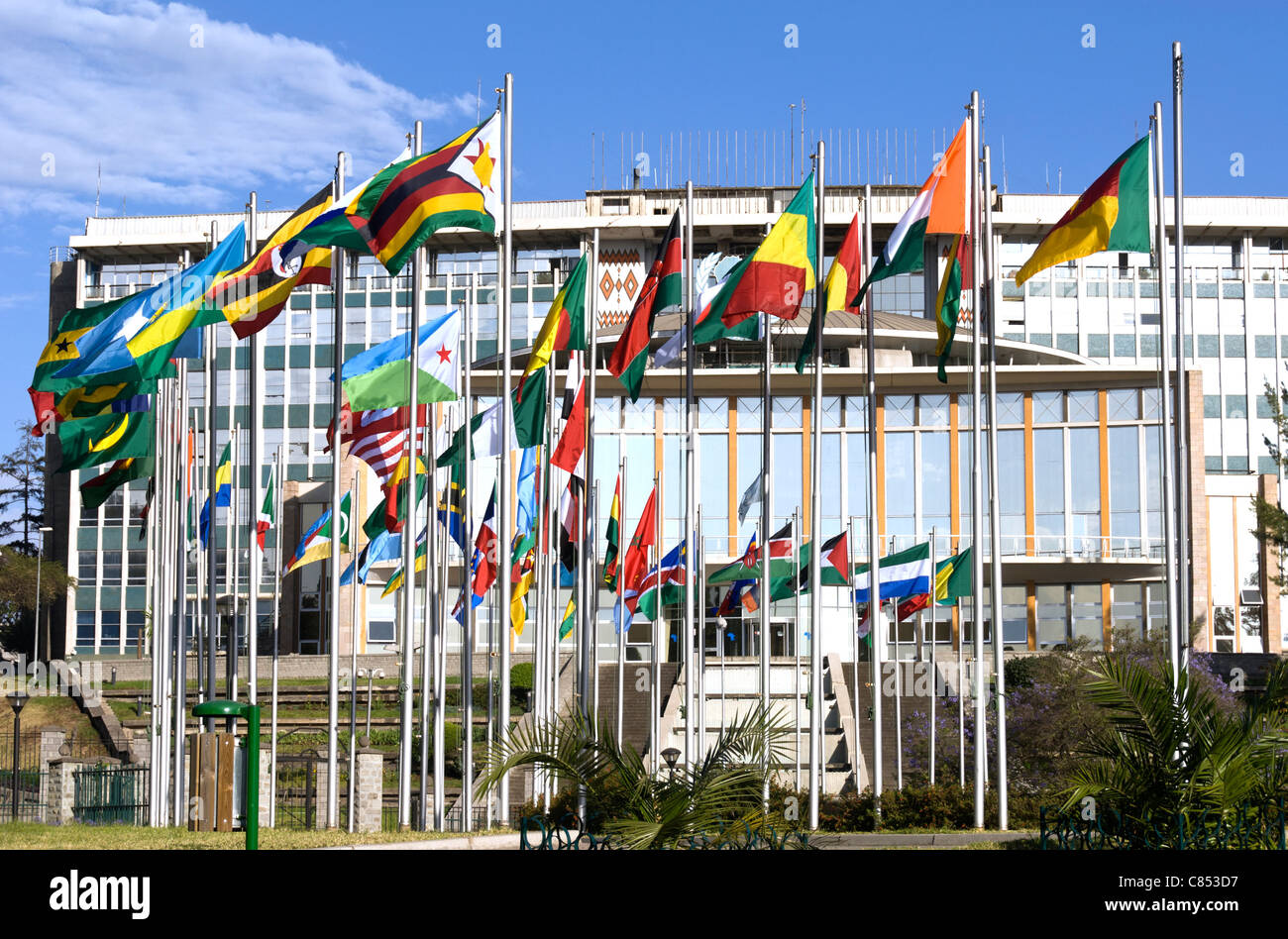 Elk200-1039 Ethiopia, Addis Ababa, Africa Hall 1961, with flags of Africa - Stock Image